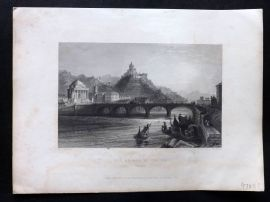 Bartlett Waldenses 1838 Antique Print. Bridge of the Po, Turin. Italy